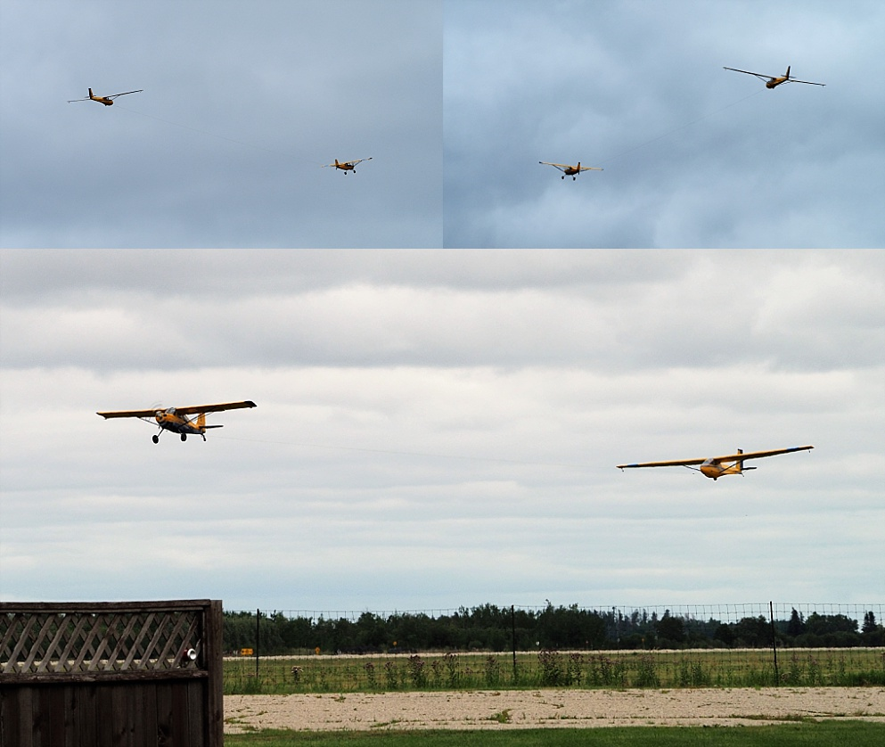 3-photo collage of tow plane and glider taking off