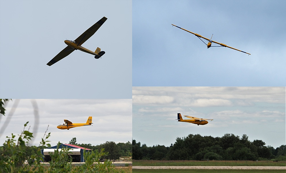 4-photo collage of cadets landing gliders