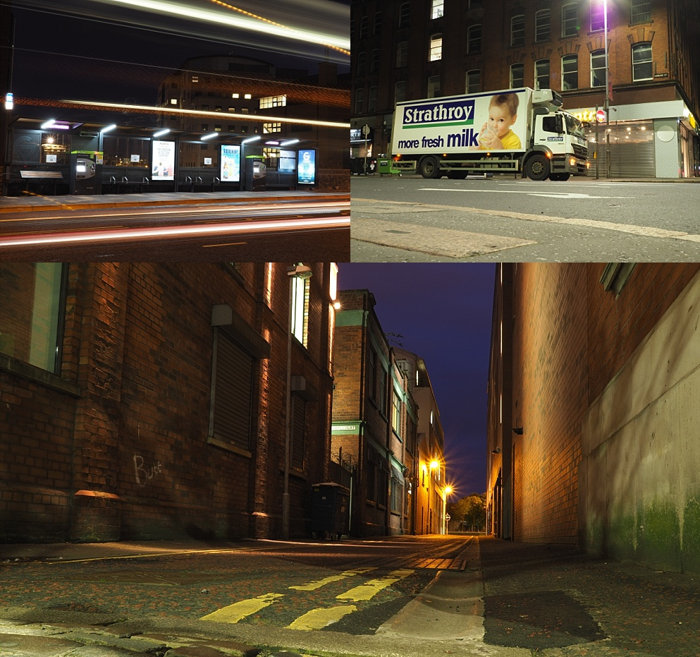 3-photo collage of Belfast's streets at night