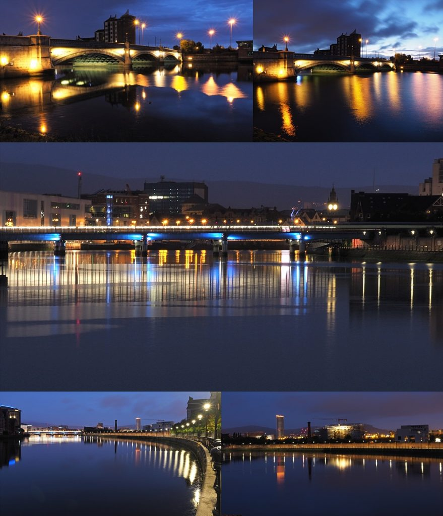 5-photo collage of lights reflected in a pre-dawn River Lagan.