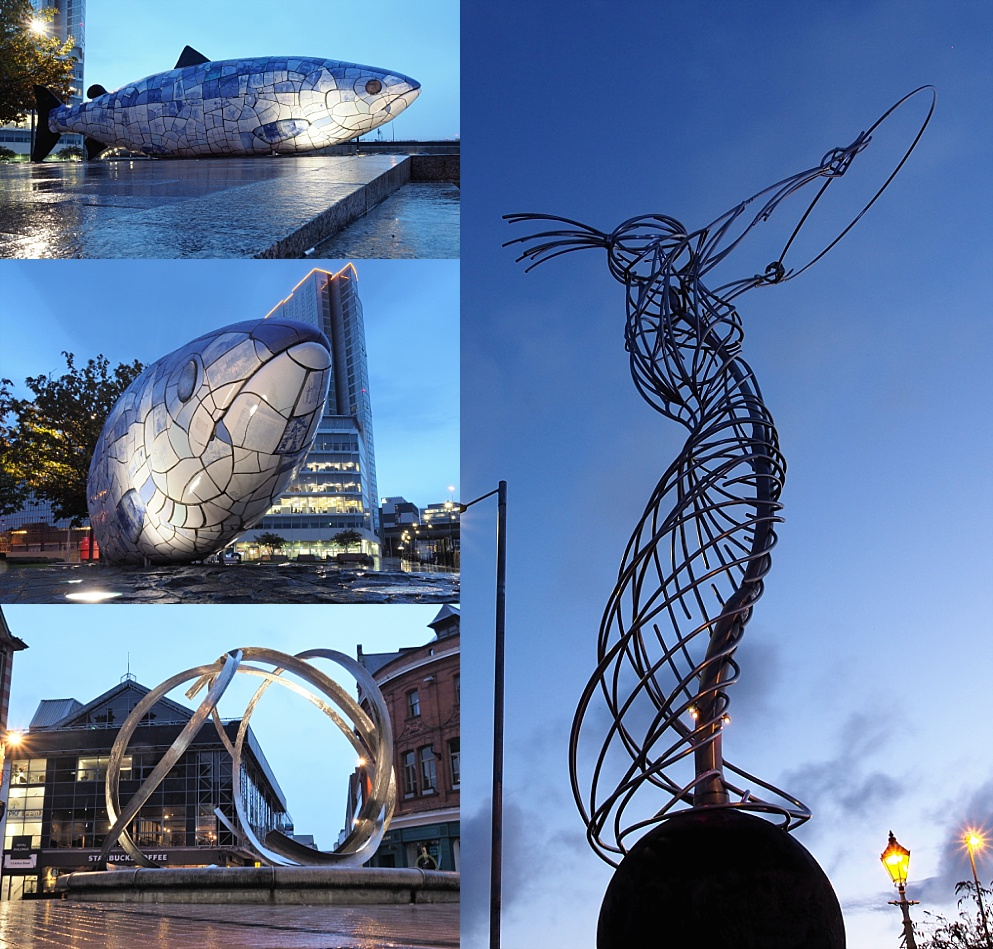 4-photo collage of the Big Salmon, Beacon of Hope, and Spirit of Belfast
