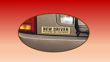 Bumper sticker asking for patience for new driver