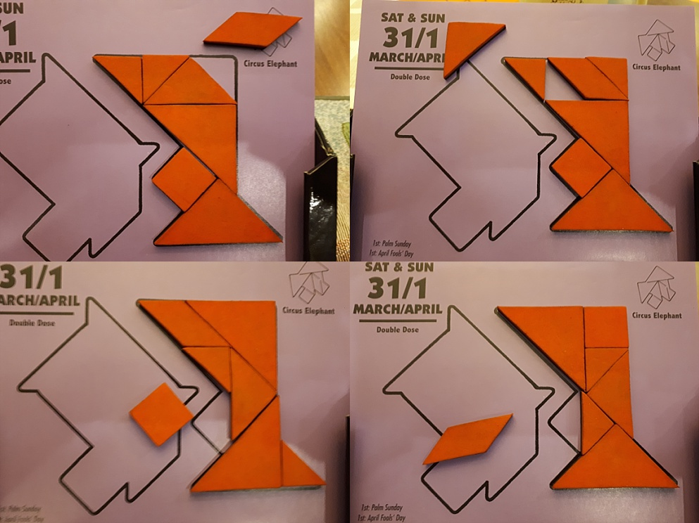 4-photo collage of tangram in failure mode