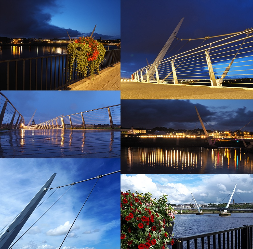 6-photo collage of Derry/Londonderry's Peace Bridge