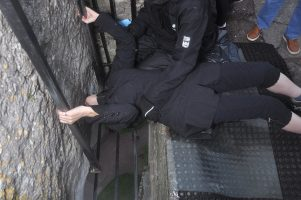Isabel kissing the Blarney Stone