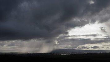 Dark rain clouds over Derry.