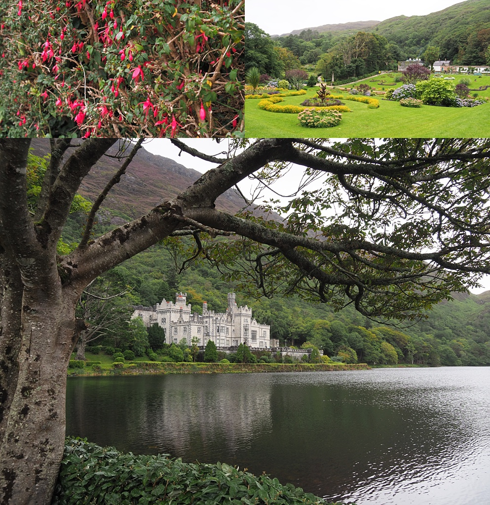 3-photo collage of Kylemore Abbey and its gardens