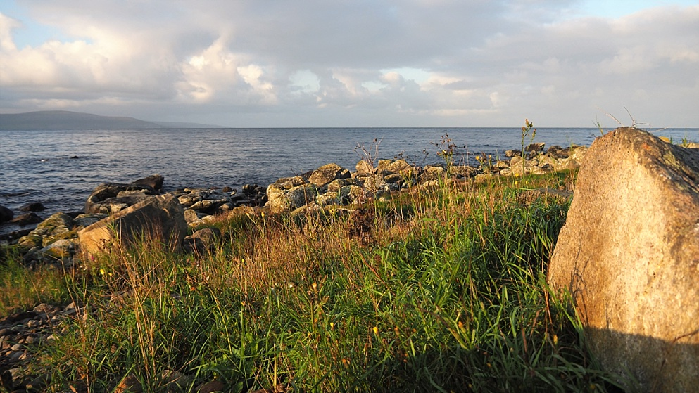 Galway Bay in warm early-morning light