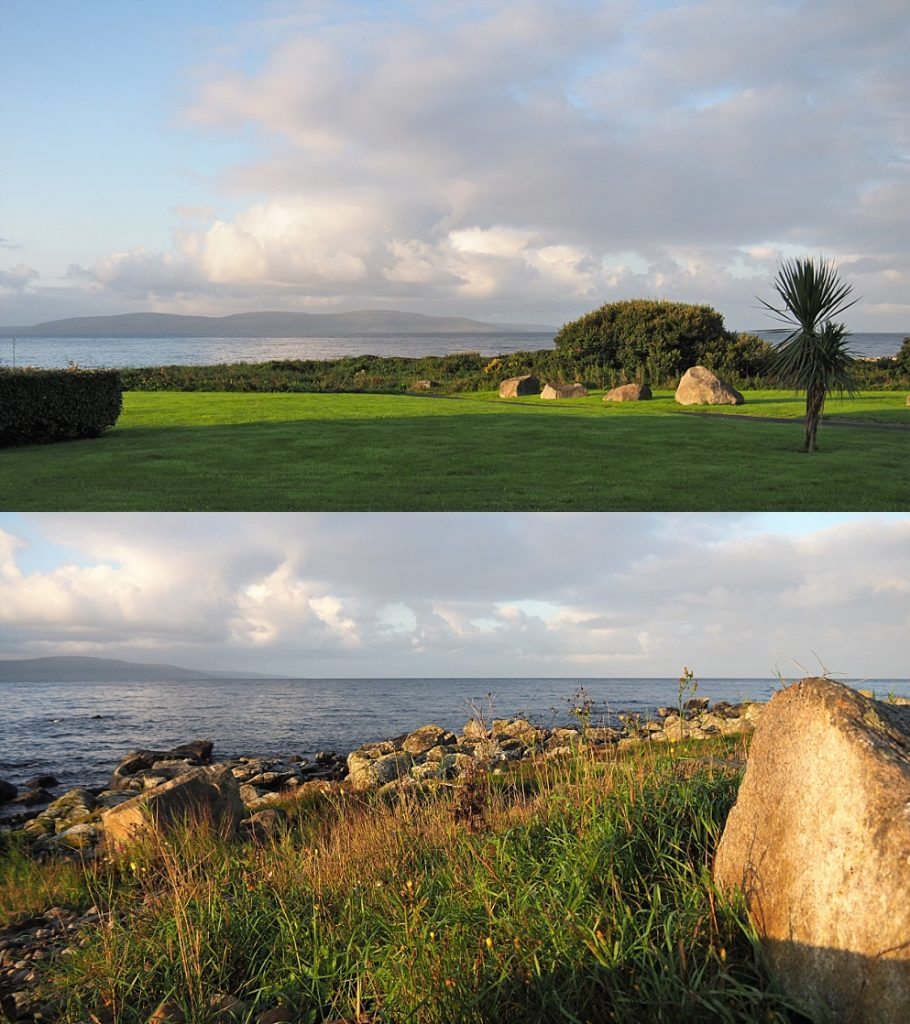 2-photo collage of sunrise on Galway Bay