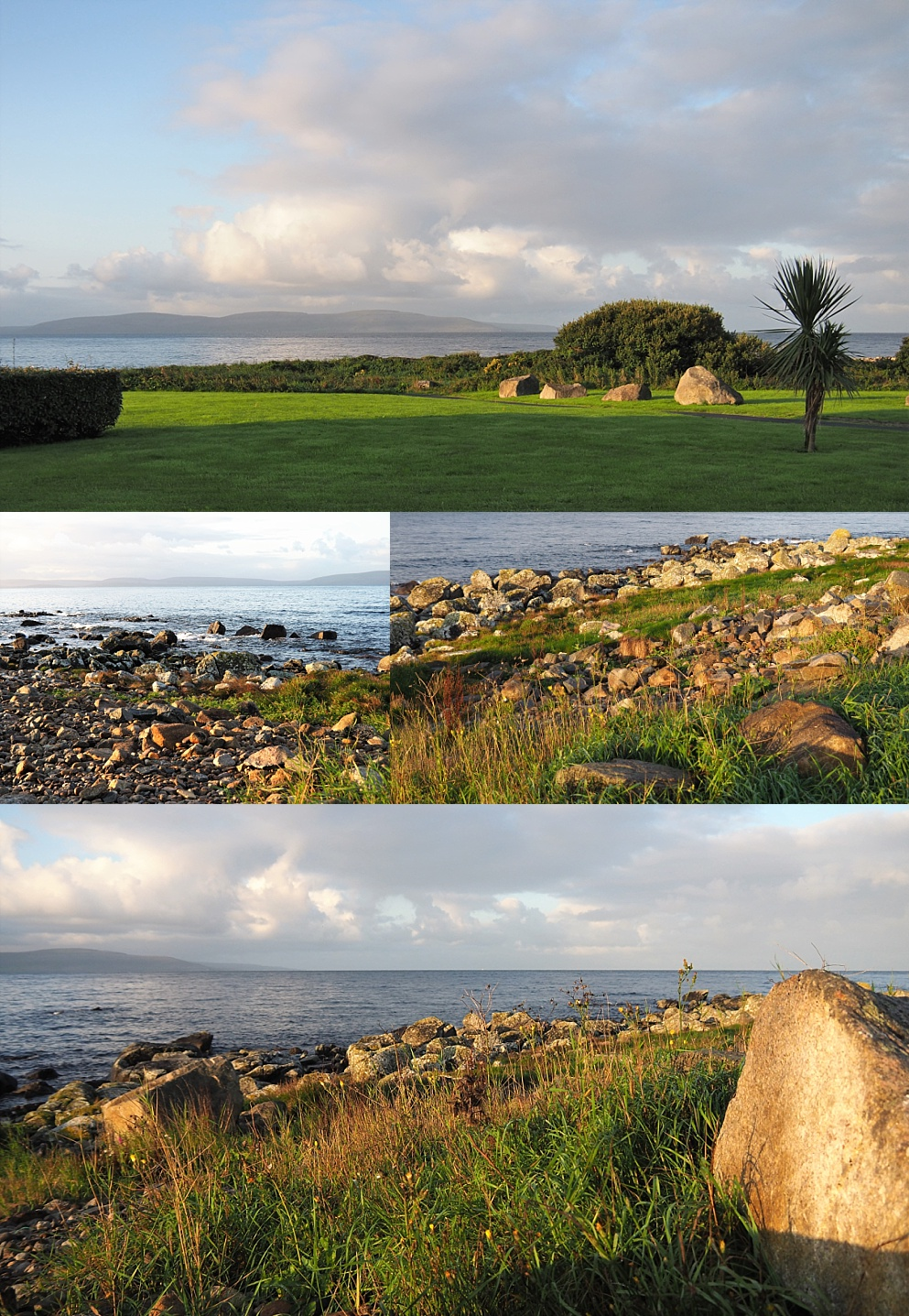 4-photo collage of sunrise on Galway Bay