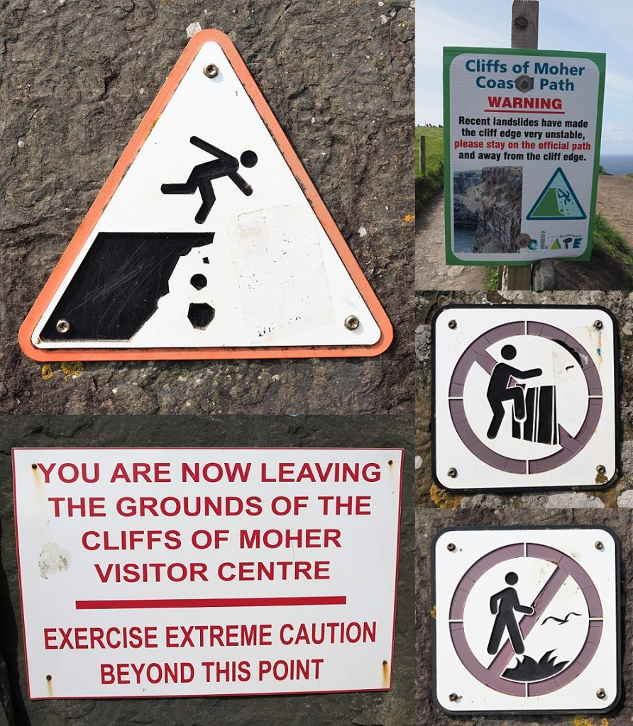 5-photo collage of satey signs at Cliffs of Moher
