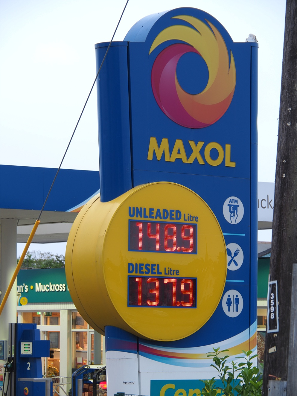 Sign showing price of petrol in Ireland