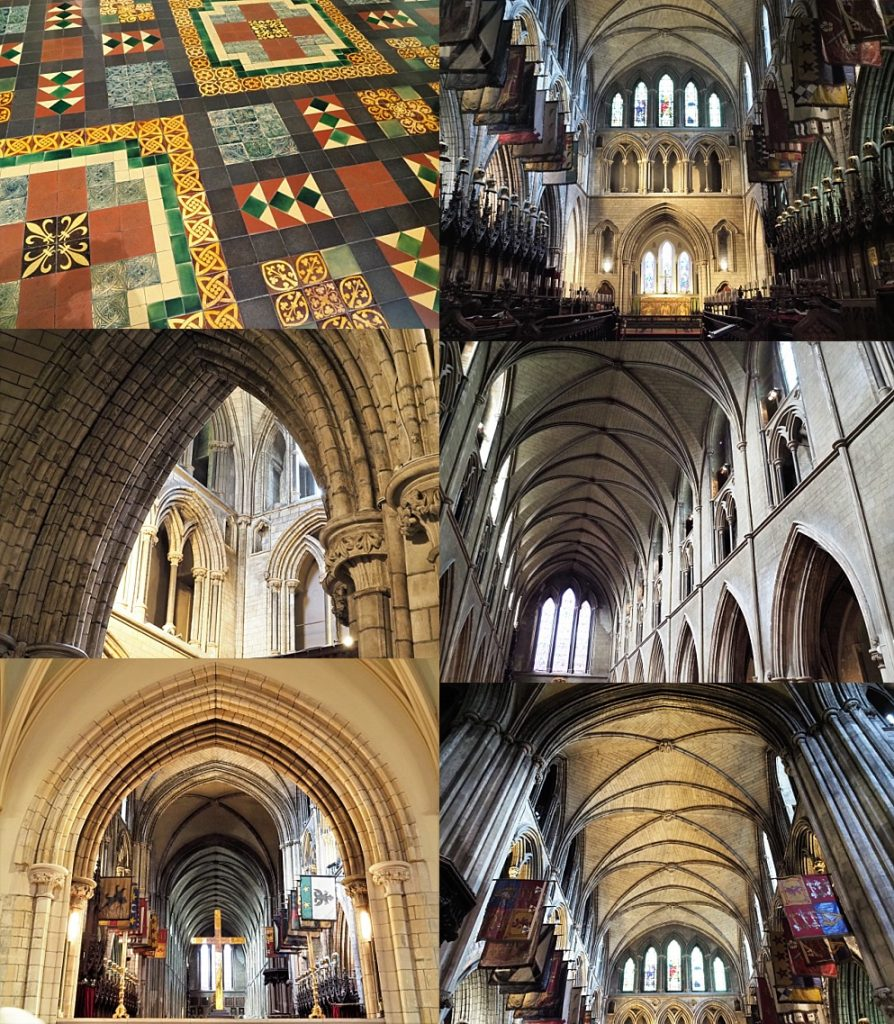 6-photo collage of interior of St. Patrick's cathedral