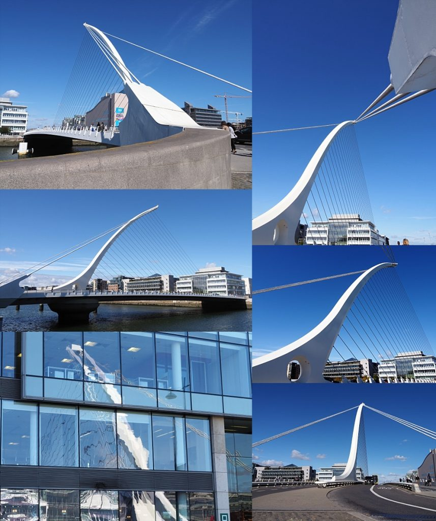 6-photo collage of Samuel Beckett Bridge, Dublin