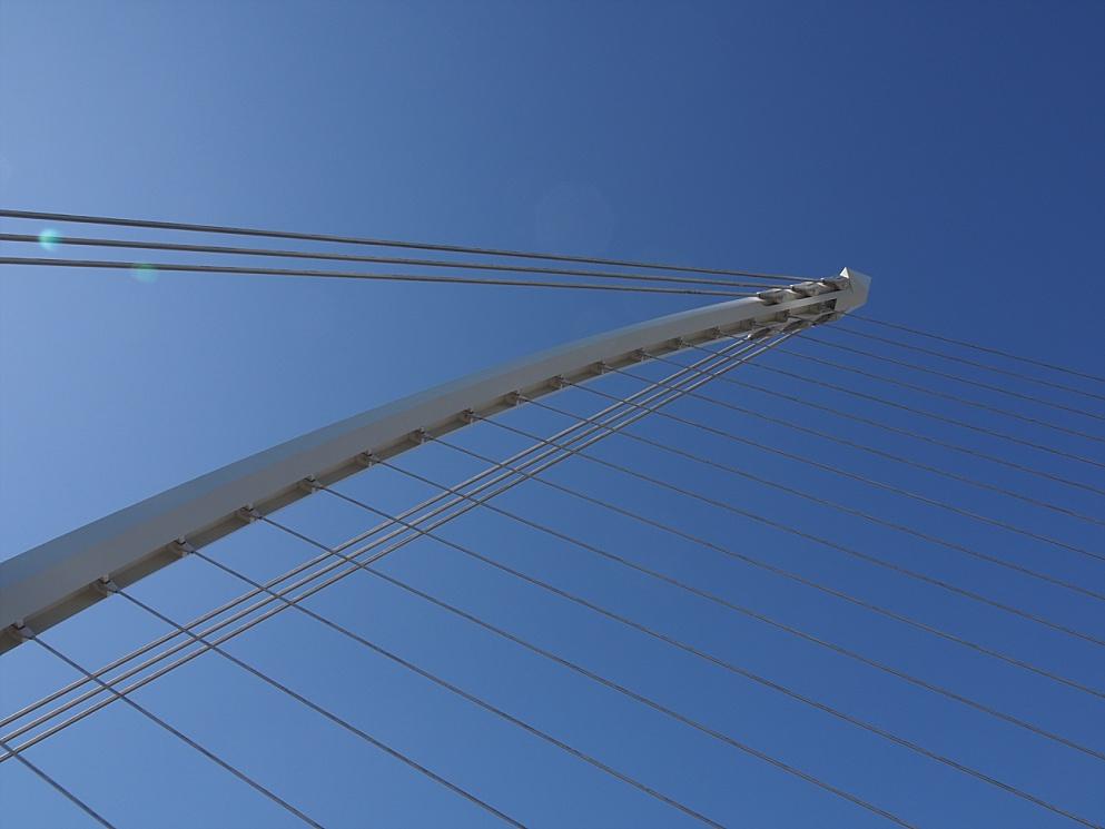 Overhead view of cables of Samuel Beckett Bridge