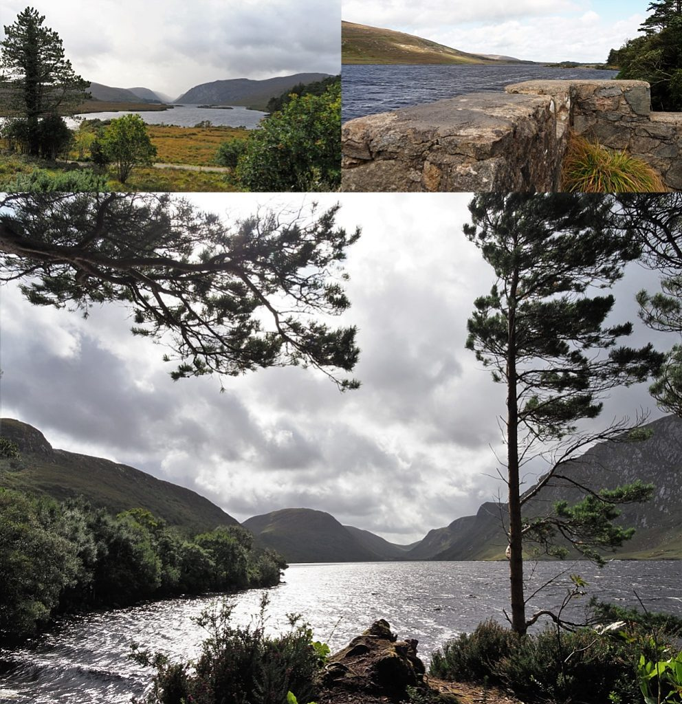 3-photo collage of Loch Veagh in stormy conditions