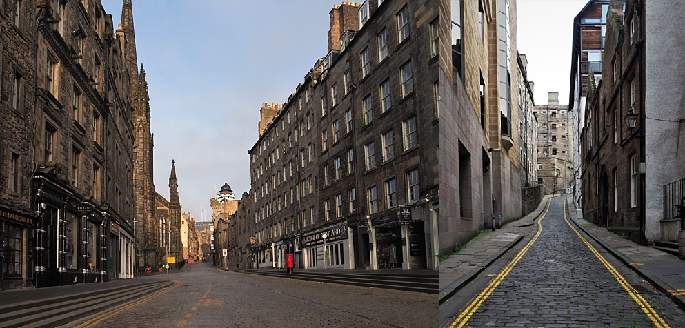 2-photo collage of streets in old Edinburgh