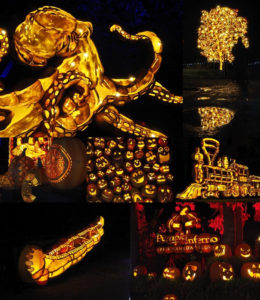 7-photo collage of photos from Pumpkinferno at Upper Canada Village.