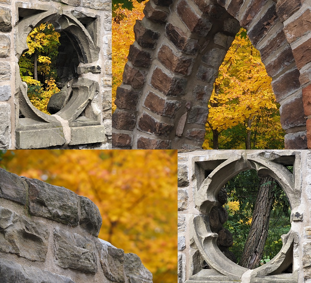 4-photo collage of fall colours at Mackenzie King Estate