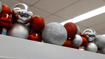 Red and silver Christmas balls