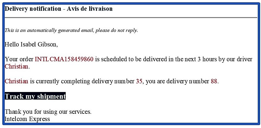 Delivery notification email from delivery subcontractor