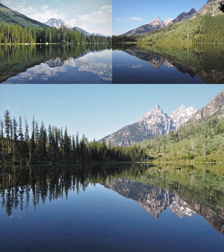 3-photo collage of reflections of Grand Tetons in String Lake