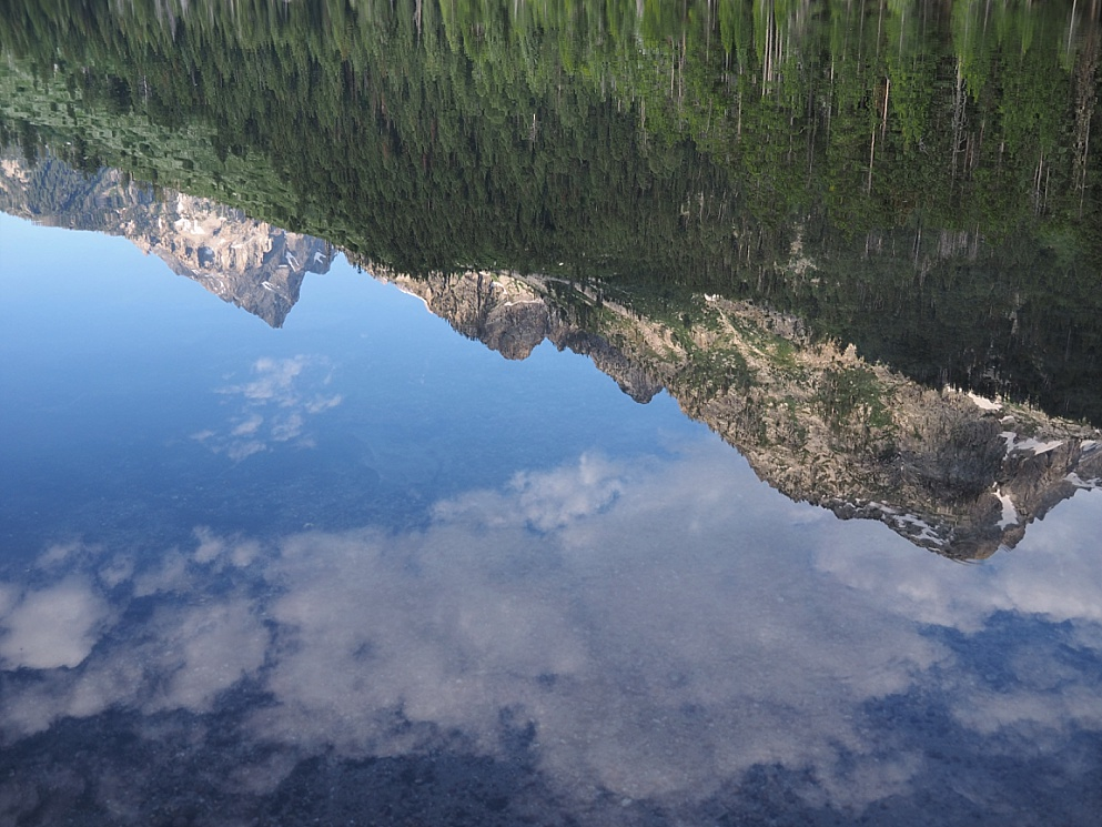 Mountain reflected in String lake