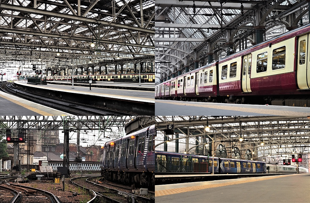 4-photo collage of Glasgow Central Station before the crowds arrive
