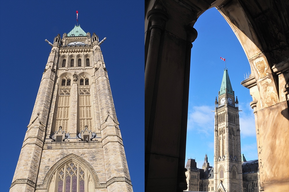 Arty views of the Peace Tower on Parliament Hill