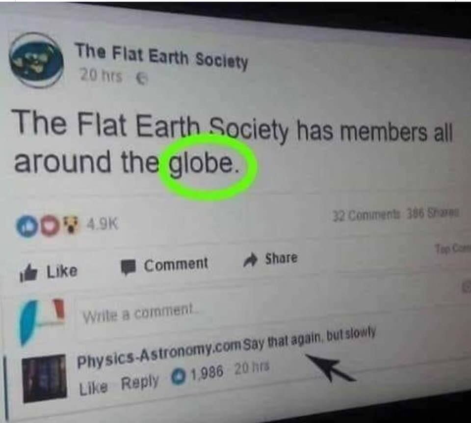 Flat Earth Society screenshot circulating on Facebook