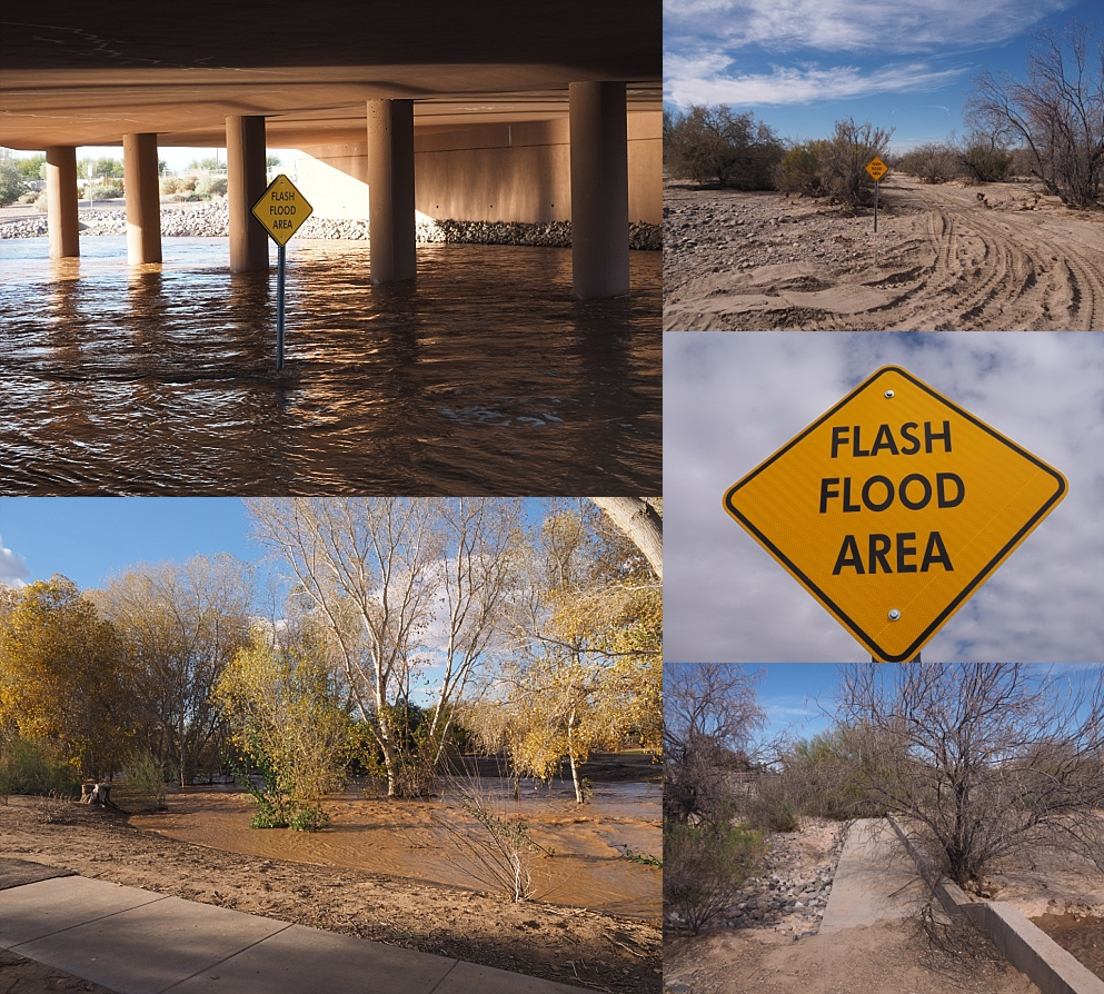 5-photo collage of dry and flooded desert wash