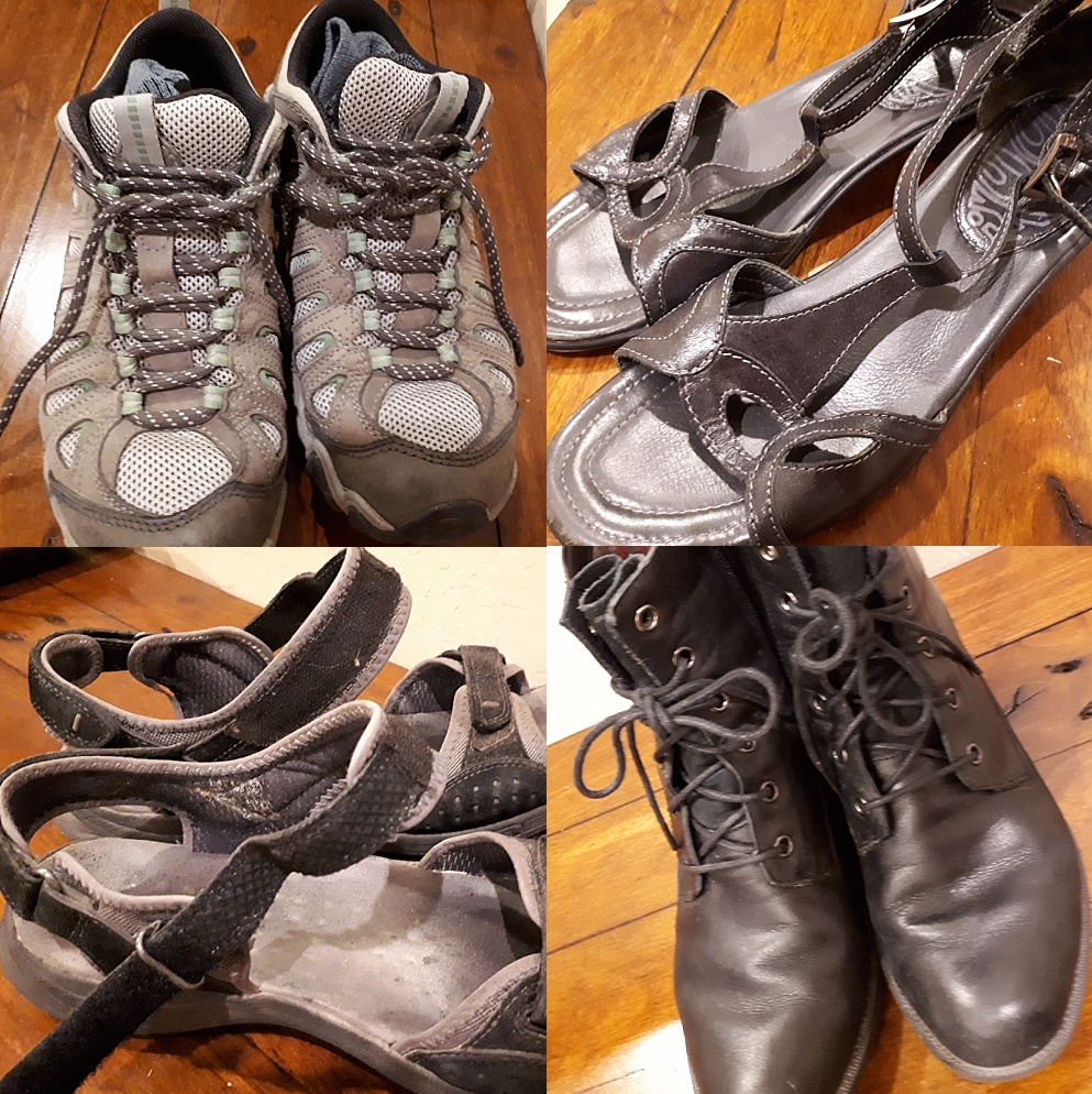 4-photo collage of shoes being used