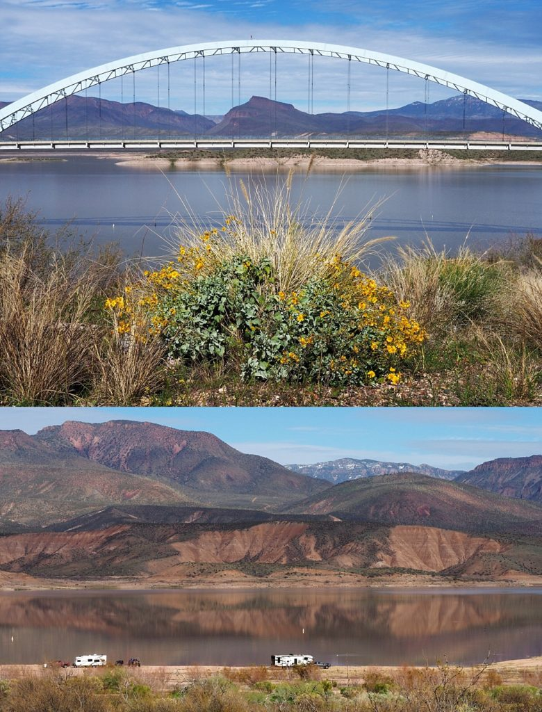 2-photo collage of Roosevelt Lake Bridge and the lake