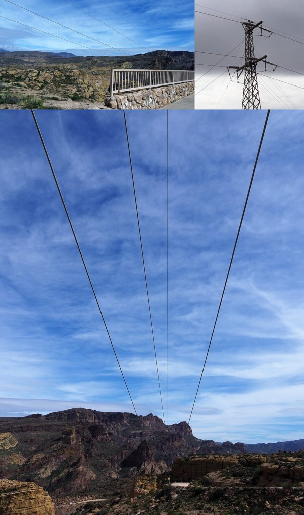 3-photo collage of power lines ruining vistas at Fish Creek Lookout