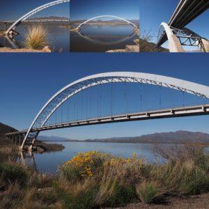 4-photo collage of Roosevelt Lake Bridge