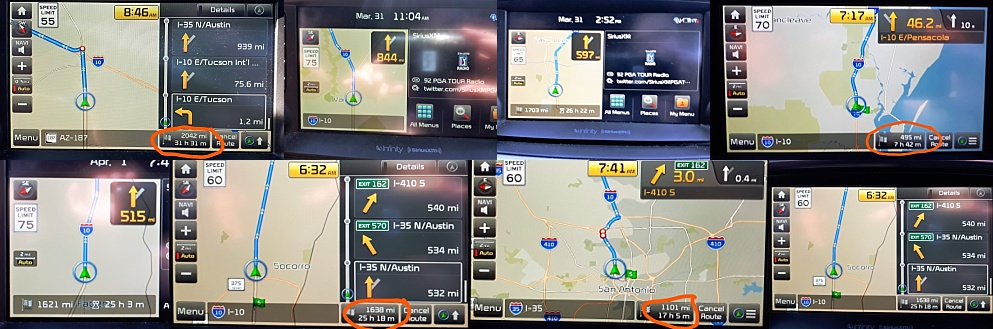6-photo collage of GPSscreens from in-car navigation