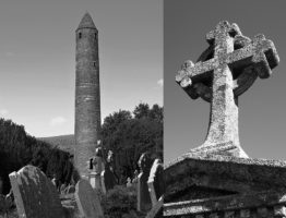 2-photo collage of cemetery at Wicklow
