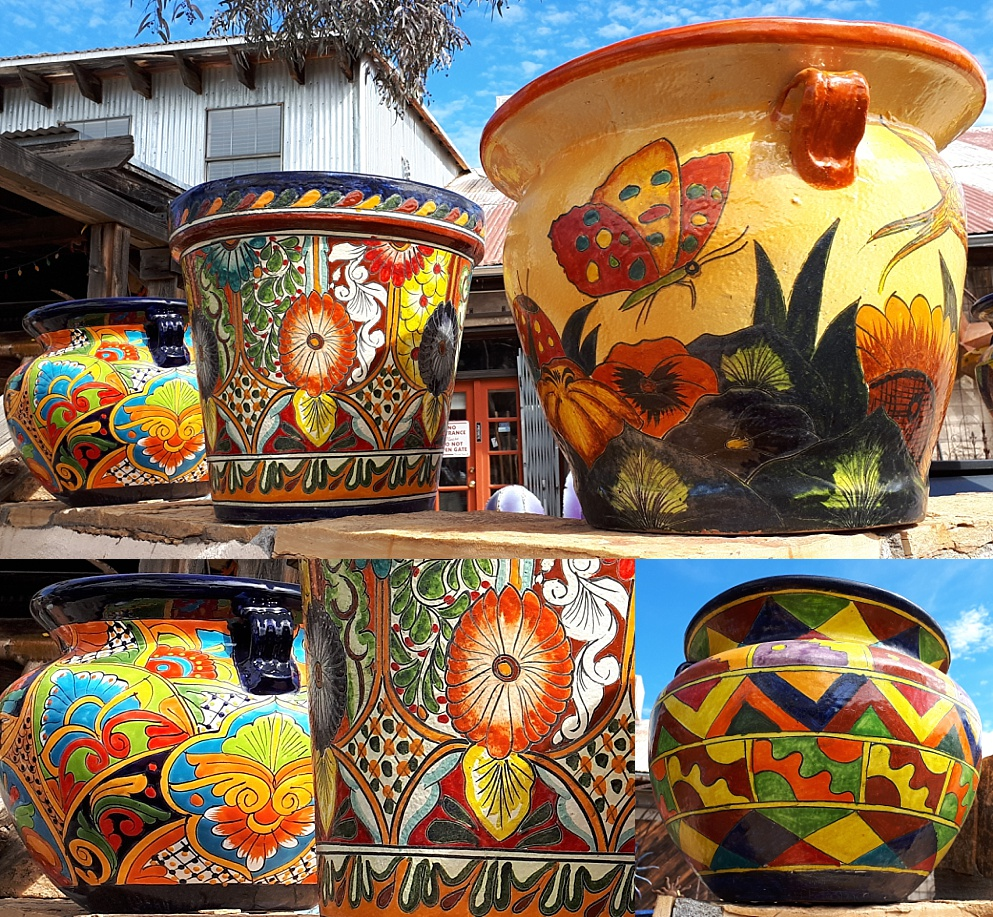 3-photo collage of Mexican flowerpots