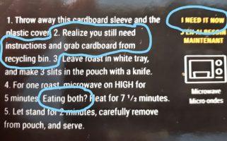Humorous heating instructions