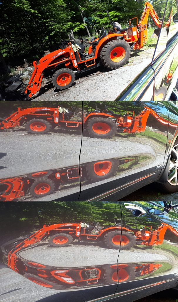 3-photo collage of Kioti tractor reflections