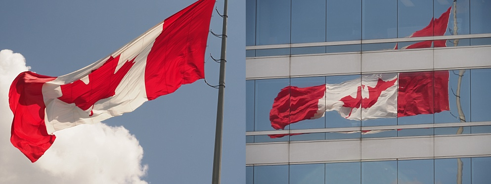 2-photo collage of Canadian flag, illustrating its aspect ratio