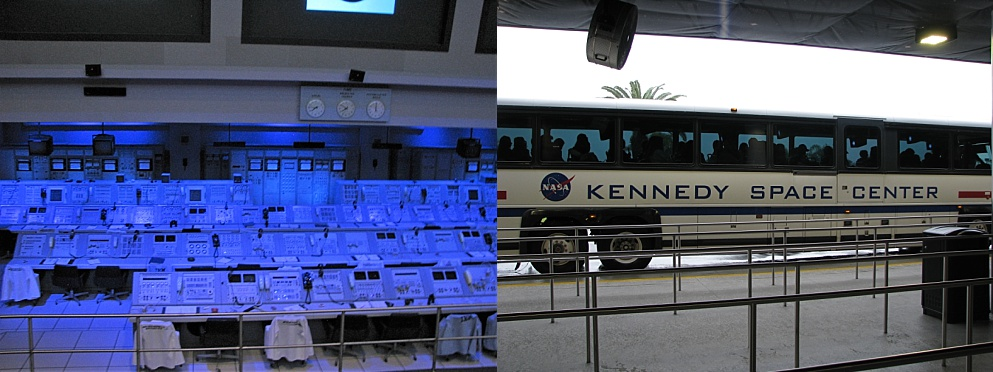 Kennedy Space Centre mission-control room and tourist bus