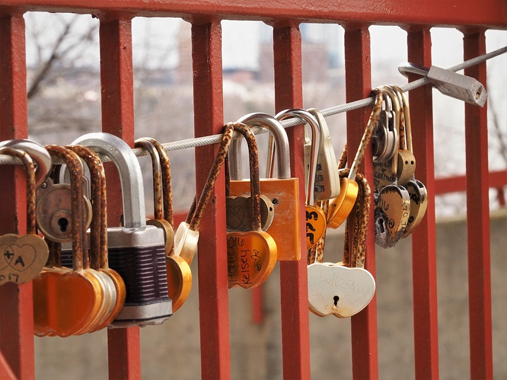 Love locks on a pedestrian overpass