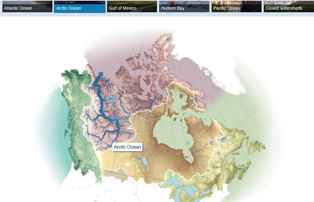 Map showing Canada's ocean watersheds