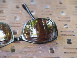 Lake reflected in sunglasses