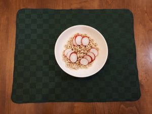 Breakfast radishes served with dry cereal