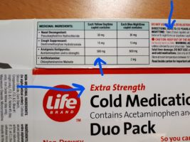 Cold remedy label showing extra strength the same as regular