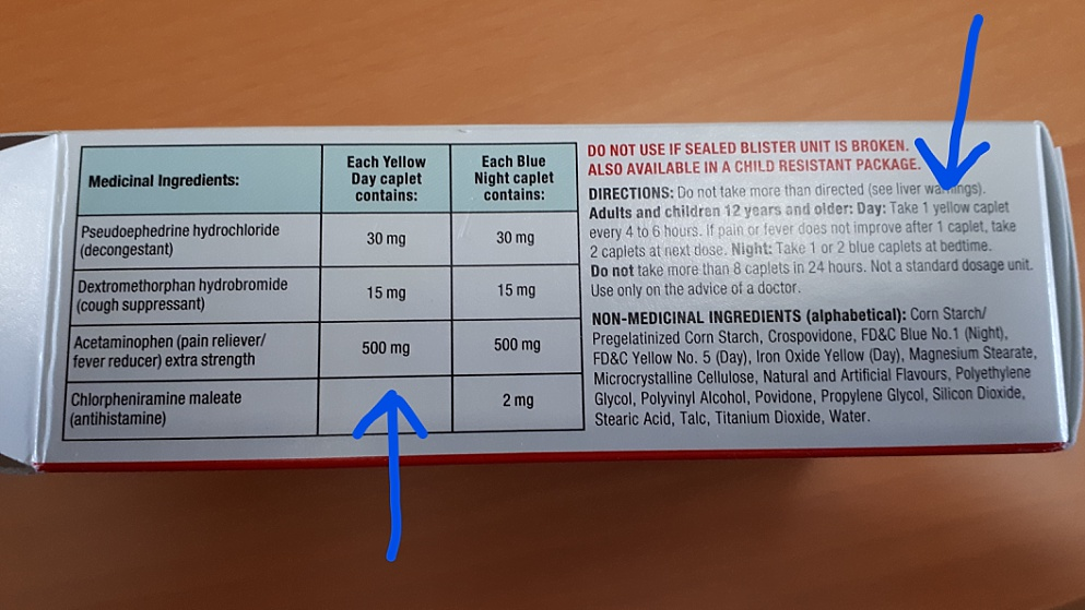 Label showing specs and dose for regular strength