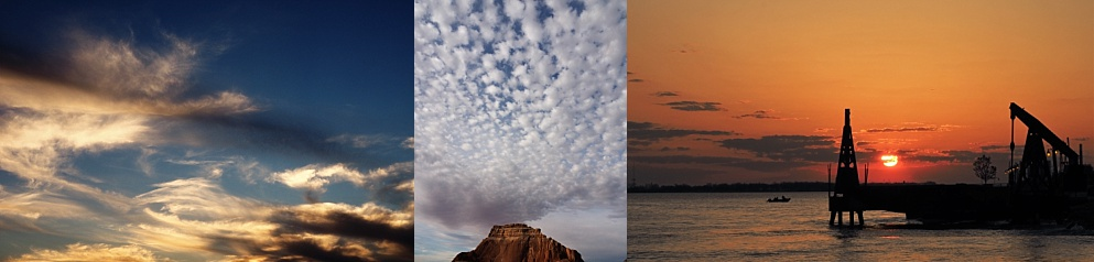 3-photo collage of skyscapes