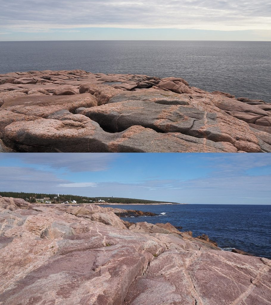 2-photo collage of rocky shores in different light